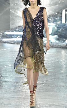 Peach Lame, Beaded Tulle, And Layered Net Dress by Rodarte for Preorder on Moda Operandi