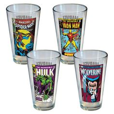 Marvel Vintage Covers Pint 4Pc, $24, now featured on Fab. [Icup Inc, DC Comics]