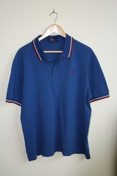 Vintage Fred Perry Polo Shirt  Size XXL Navy Blue Red Fashion Designer Cotton
