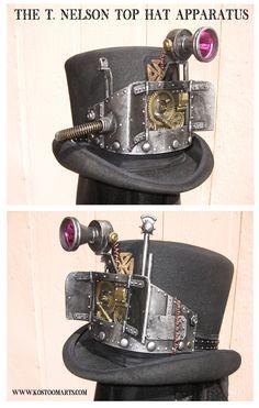 Steampunk Top Hat Nelson Apparatus by Killbuck Chat Steampunk, Mode Steampunk, Steampunk Top Hat, Style Steampunk, Steampunk Couture, Steampunk Wedding, Steampunk Clothing, Steampunk Fashion, Steampunk Weapons