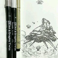Hey look! An awesome #penandink #scifi #airship #illustration by @tylerhiggs!  By this point I'm sure Tyler knows how much I love his work and probably also knows that we love airships... So I'll leave you to just enjoy this #epic #flyingmachine #drawing. (Though I can add more  interesting discussion and content if Tyler or any followers want me to.) Be sure to tag your friends if you want to #share this cool piece of #artwork  and  also head over to Tylers page to like the original drawing…