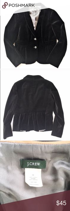 J. Crew black velvet blazer Soft black velvet blazer from J. Crew, size 12. Features two gathered front pockets, two button front closure, and cute gathering in the back. Excellent condition. J. Crew Jackets & Coats Blazers