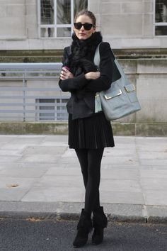 Olivia Palermo sunglasses, jacket, scarf, skirt, tights, booties, black, fashion, fall, winter