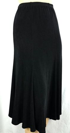 Black Travel Skirt Made in Heaven Non-Wrinkle Toss in Suitcase Size L 10-12 #MadeInHeaven #ElasticBandStretchesNonWrinkleTossinSuitcase