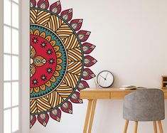 Mandala in Half Wall Sticker, Colorful Mandala Wall Decal, Decor for Home, Studio, Removable Vinyl S Mandala Drawing, Mandala Painting, Mandala Art, Wall Art Designs, Paint Designs, Bedroom Designs, Wall Design, Design Design, House Design