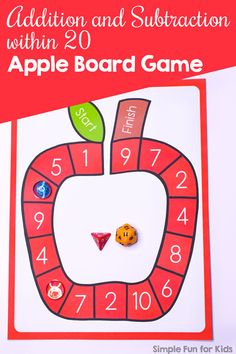 Addition and Subtraction within 20 Apple Board Game - Simple Fun for Kids Apple Activities, Autumn Activities For Kids, Counting Activities, Kids Learning Activities, Kindergarten Activities, Math Games, Number Activities, Play Based Learning, Fun Learning
