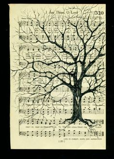 Who said hymnals are boring? Tree on Vintage Hymnal Book Page by kimbade on Etsy. Old Book Crafts, Book Page Crafts, Book Page Art, Book Art, Old Book Pages, Sheet Music Crafts, Sheet Music Art, Music Paper, Hymn Art