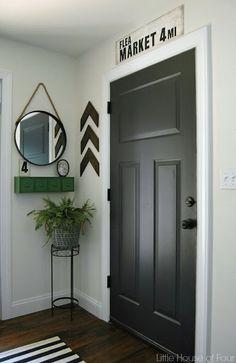Mud Room.  Door:  Iron Ore, SW.   http://littlehouseoffour.blogspot.com/2015/09/thrifty-diy-mudroom-reveal.html.  Metal olive bucket form Target.