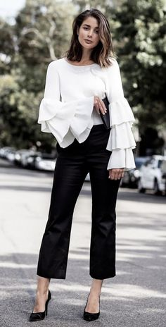 basic black-white look, but special sleeves with the blouse