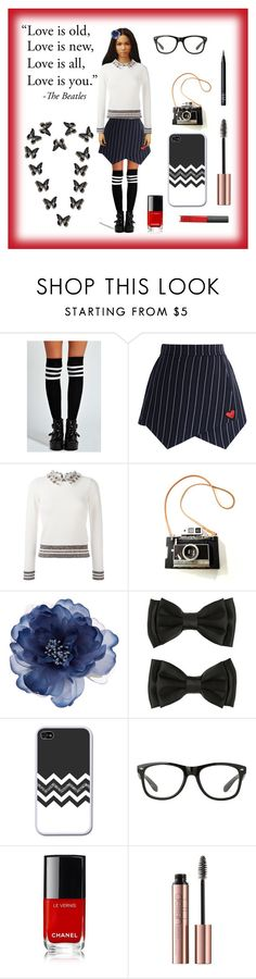 """""""School Girl's Butterflies"""" by i-love-tennis ❤ liked on Polyvore featuring Boohoo, Chicwish, Valentino, Accessorize and NARS Cosmetics"""