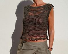 Knit cropped sweater crop top  cream loose knit tank by EstherTg