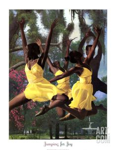 Jumping For Joy, Art Print by Gregory Myrick African American Artwork, African American Culture, African Art, African Dance, African Beauty, American Artists, American History, Black Girl Art, Black Women Art