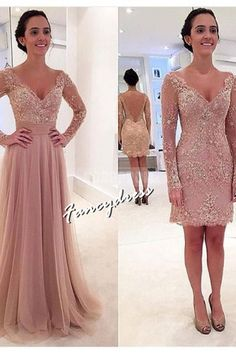 Beautiful Prom Dress, long sleeves v neck tulle prom dress with detachable train dusty pink prom dress cocktail dress sexy prom dress Meet Dresses Prom Dresses 2018, Prom Dresses With Sleeves, Tulle Prom Dress, Long Wedding Dresses, Cheap Prom Dresses, Simple Dresses, Sexy Dresses, Lace Dress, Formal Dresses