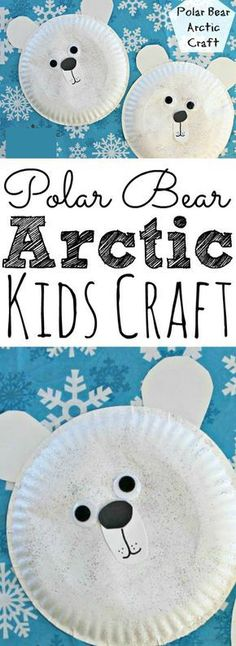 This easy arctic paper plate Polar Bear Craft for kids is the perfect craft for winter. Making it perfect for arctic polar bear units. | Winter Crafts for Kids Bear Crafts Preschool, Toddler Crafts, Polar Bear Crafts, Dinosaur Crafts, Kids Crafts, Polar Bear Party, Polar Bears, Preschool Ideas, Arctic Decorations