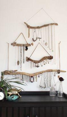 Driftwood Jewelry Display Wall Mounted Jewelry Organizer Necklace Hanger Jewelry Holder/Set or Single/bohemian decor boho decor organization #jewelryorganizertips #necklacedisplay #necklaceholder