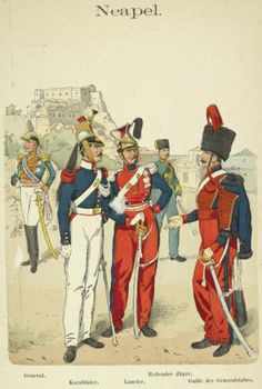 "Hand Colored Print from ""Uniformenkunde"" by Richard Knotel: Neapel. 1859 in Art, Art from Dealers & Resellers, Prints Two Sicilies, Military Art, Military Uniforms, Napoleonic Wars, Modern Warfare, Cacciatore, Hand Coloring, Old Things, Prints"