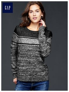 Marled mixed-pattern pullover sweater