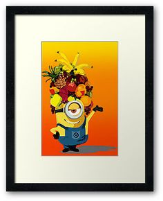 Despicable me minions hula dance with fruit Hat Framed Prints, Poster Or Cards