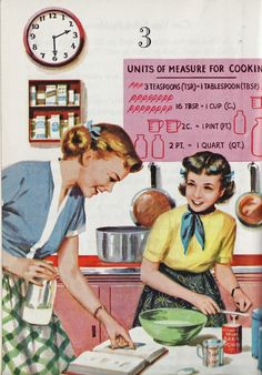 Cookery Classes At School ~ Great Cooking Is A True Science ~ Illustration From An Old Cookbook Or Schoolbook?