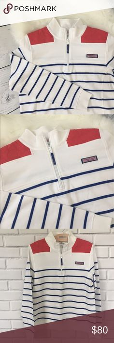Vineyard Vines Shep Shirt Size Medium  Vineyard Vines Shep Shirt in EUC!   White with Blue Stripe and Red Shoulder with whale tail pattern. Vineyard Vines Tops