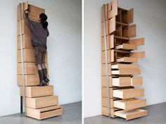 """The designer Danny Kuo cleverly claims that in order to save space, """"the most efficient way to build is vertically. Building vertically saves space as it uses minimal ground square meters."""" Danny Kuo's way to transform this concept into a form is in his smart staircase shelving unit"""