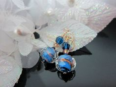 Cobalt and Copper Lampwork Bead and Crystal by IBKcreations, $19.95