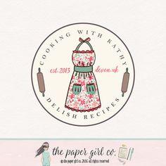 apron logo design rolling pin logo bakery logo by ThePaperGirlCo Baking Logo Design, Food Logo Design, Logo Food, Logo Design Site, Dessert Logo, Logo Archive, Cupcake Logo, Kitchen Logo, Bakery Branding