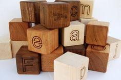 Organic alphabet block set ~ available online for US$45.00 from http://www.etsy.com/shop/littlesaplingtoys