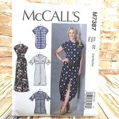 McCalls 7387 Womens Plus Size Top Tunic Shirtwaist Dress Belt Sz L XL Pattern #McCall #Tunic