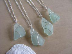 Bridesmaid Gifts Beach Wedding Jewelry Sea Glass Aqua Blue Sea Foam Green Seafoam Beach Glass Necklaces $24.00 Visit bostonseaglass.etsy.com! Sea Glass, Bridesmaid Gift