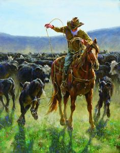 Sandhills Spring by Jim Rey, left panel of triptych Cowboy Pictures, Art Pictures, Photos, Cowboy Artwork, Cowgirl And Horse, West Art, Cowboys And Indians, Le Far West, Country Art