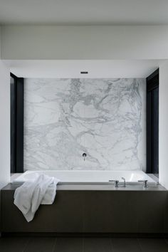 Minimalist Bathroom // Love this modern bathroom at the Lucerne House by Daniel Marshall Architects. The white Carrara marble wall is brilliant, Diy Bathroom Remodel, Shower Remodel, Bathroom Interior, Modern Bathroom, Vanity Bathroom, Budget Bathroom, Design Bathroom, Bathroom Cabinets, Bathroom Marble