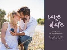 A romantic image with a dark text box and a light purple, cursive text. Create your own Save The Date Wedding Invitation. Mr And Mrs Smith, Romantic Images, Wedding Thank You Cards, Mr Mrs, Save The Date, Wedding Invitations, Dating, Social Media, Couples