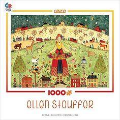 Ceaco-Ellen-Stouffer-Feast-Jigsaw-Puzzle-Artist-Folk-Art-Watercolor-1000-PIeces