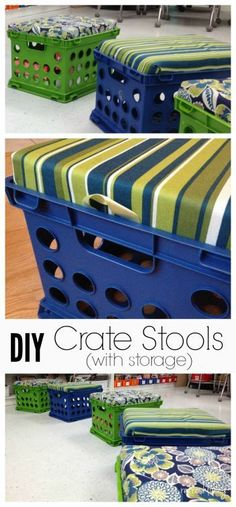 DIY Crate Storage Bench is part of Toy Organization Crates - It's easy to make a DIY storage bench from plastic crates using filing crates, foam, fabric, and a staple gun Perfect for the classroom or a kids playroom! Diy Storage Bench, Blanket Storage, Crate Storage, Storage Ideas, Fabric Storage, Storage Shelves, Outdoor Toy Storage, Storage Stairs, Ottoman Storage