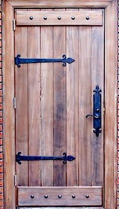 Rustic One Panel Single Entry Door with clavos and iron hinges Custom Wood Doors #KnottyAlderCustomGateDoor