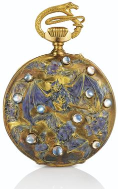 Papillons et Chauves-souris', an enamel, moonstone and gold pocket watch by René Lalique, c. 1899-1900.     Moonstone has been used in jewelry for thousands of years, dating back to ancient civilizations. The Romans and Greeks associated moonstone with their lunar gods. The Romans believed that moonstones had the power to bestow love, wealth, and wisdom, and in the Middle Ages moonstones were used to treat a variety of afflictions, from consumption to marital troubles. In the late 19th and…