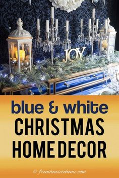 I love this blue and white Christmas home tour. All kinds of Christmas decorating ideas for the tree, living room, table and fireplace mantle. Blue Christmas Lights, Blue Christmas Decor, Christmas Decorations For The Home, Christmas Table Settings, White Christmas, Christmas Home, Christmas Ideas, Xmas, Holiday Decor