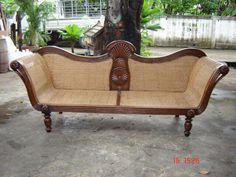 """Colonial Rattan Sofa"" Teak wood ,Yangon Burma , ca century Colonial Furniture, Victorian Furniture, Settee, Armchair, Sofa Design, Furniture Design, Rattan Sofa, Yangon, Console Tables"