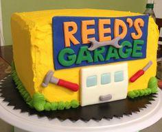 Garage birthday cake with car wwwfacebookcomallcakedup4u All