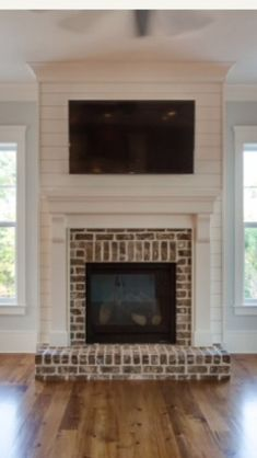 Most up-to-date Pics diy Fireplace Hearth Popular Terrific Photographs Corner Fireplace with tv Tips Spot fireplaces offer you variety good things ab Shiplap Fireplace, Farmhouse Fireplace, Fireplace Hearth, Home Fireplace, Fireplace Remodel, Living Room With Fireplace, Fireplace Design, Fireplace Ideas, Traditional Fireplace Mantle