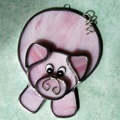 Stained Glass Pig Suncatcher