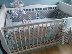 SALE Crib Bedding,Baby Bedding, Crib set- Blue and Gray chevron/ polka dots gender neutral boy girl bumperless