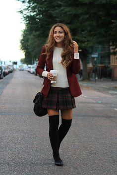A plaid skirt with blazer and tall socks (zettai ryouiki). Like a grown-up schoolgirl.