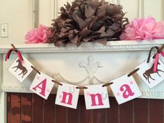 Horse Name Banner, Horse Decor , Pony Party , 1st 2nd, 6th Horse Birthday , Cowgirl Party ,  Saddle Up Birthday Decor, Custom Colors by anyoccasionbanners on Etsy https://www.etsy.com/listing/298541049/horse-name-banner-horse-decor-pony-party