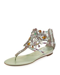 Crystal-Chandelier+Thong+Sandal,+Multi+by+Rene+Caovilla+at+Neiman+Marcus.