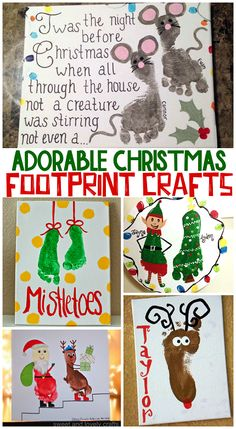 Adorable Christmas Footprint Crafts for Kids. Footprint reindeer, mistletoes... even a footprint Santa.