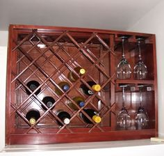 Vintage Wine Build a Wine Rack with Built-in Wine Glass Storage - Use this set of free woodworking plans to build a wine rack that holds thirteen bottles of wine while also holding twelve of your favorite wine glasses. Wine Glass Storage, Wine Glass Rack, Wine Racks, Wine Rack Plans, Wine Rack Design, Built In Wine Rack, Woodworking Projects, Diy Projects, Woodworking Shop