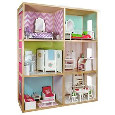 Arrange a space for your child's 18-inch dolls and accessories with this modern-style wooden dollhouse. The pinewood frame creates six separate rooms for a durable play space. Designed for ages 8 and