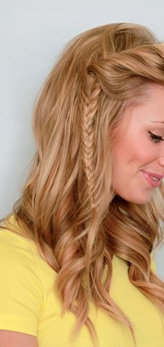 twist into a fishtail with curled hair